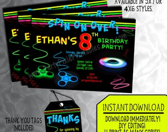INSTANT DOWNLOAD Fidget Hand Spinner Party Invitation, 5x7 or 4x6. Thank You Tags - DIY Editing - Personalized and Printable Digital Files