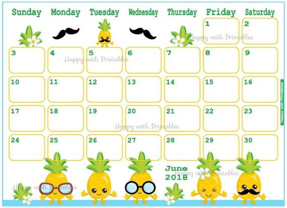 calendar summer 2018 printable