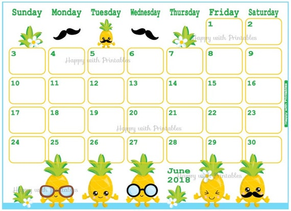 calendar june 2018 summer planner printable cute planner