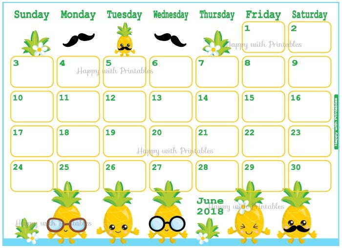 Calendar June 2018 Summer Planner Printable Cute Planner