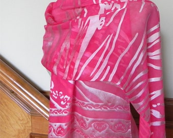 Hand dyed Devore satin shawl with fringe in shades of magenta red water print silk and satin shawl large silk scarf #514 ready to ship