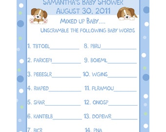 24 Baby Shower Game Cards- Word Scramble - Personalized - Puppy Dog