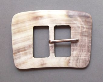 Vintage rectangle belt buckle ivory taupe resin 10 cm