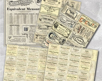 Vintage Pantry Labels Collection- Hardcopy