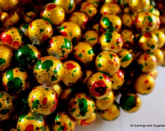 BOGO - 50 Gold Drawbench Beads 8mm Red Green Painted Round - 15 inch - G6044-GRG50 - Buy 1, Get 1 Free - no coupon required