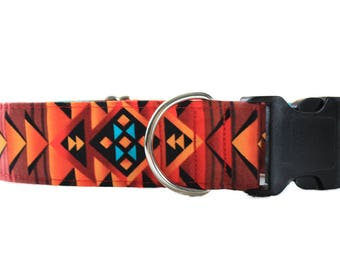 1.5 Inch Dog Collar, Tribal Dog Collar, Aztec Dog Collar, Large Dog Collar, Southwest Dog Collar, Big Dog Collar, Turquoise  and Copper