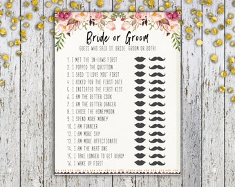 PRINTABLE BRIDAL SHOWER Game, Instant Download, Bride or Groom Game, Who Said it, Wedding Games, Wedding Shower Games, Bridal Shower Game