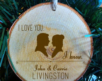 Star Wars Couples Personalized First Names I Love You I Know Christmas Wood Slab Christmas Ornament Made in the USA