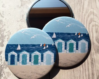Beach huts, compact mirror, make up mirror, pocket mirror, seaside, makeup, gift for girl