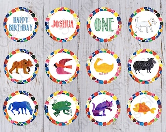 Brown Bear Birthday Cupcake Toppers