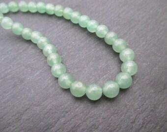Aventurine: 15 round 6 mm round beads - green gemstone