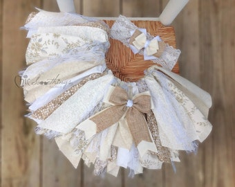 fabric tutu, white fabric tutu, vintage lace fabric tutu, ivory and white fabric tutu, shabby chic tutu, vintage inspired birthday tutu