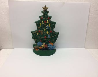 Vintage Cast Iron Doorstop Christmas Tree Holiday Santa Pine Evergreen Tree Decorated