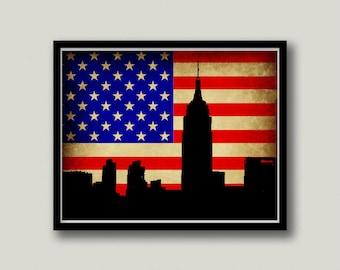 New York City American Flag Printable Art, Instant Download