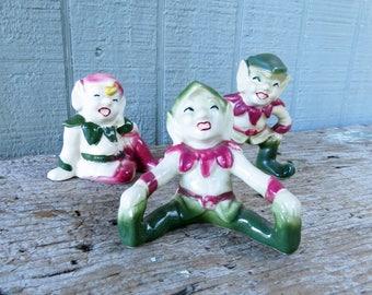 3 vintage Pixie/Elf Figurines - Mischievous set of 3 pixies- red and green