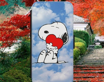 Snoopy and Charlie Brown Dog Red Heart in Love Cartoon Flip Wallet Phone Case Cover For iPhone & Samsung Model Fast Safe Tracked Postage
