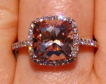 Cushion Morganite Rose Gold Diamond Halo Engagement Ring, Morganite Engagement Ring, Rose Gold Engagement Ring