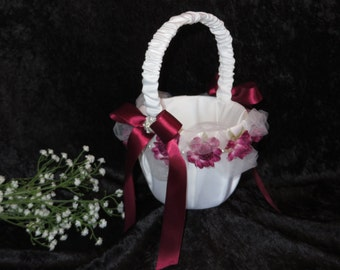 Wedding Basket, Wedding Flower Girl Basket, White Satin with Wine colored Rosebuds and Satin Ribbon.