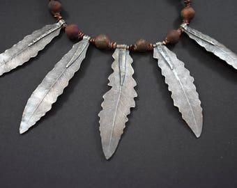 Garden Ferns Necklace in Silver with Raku Beads