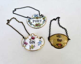 Vintage Decanter Tags | Liquor Bottle Charms | Bone China Bottle Charms | Enamel Charm | Gin Rye Hanging Signs