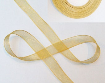 Clear 14 mm - sold per 5 meters honey golden yellow organza Ribbon