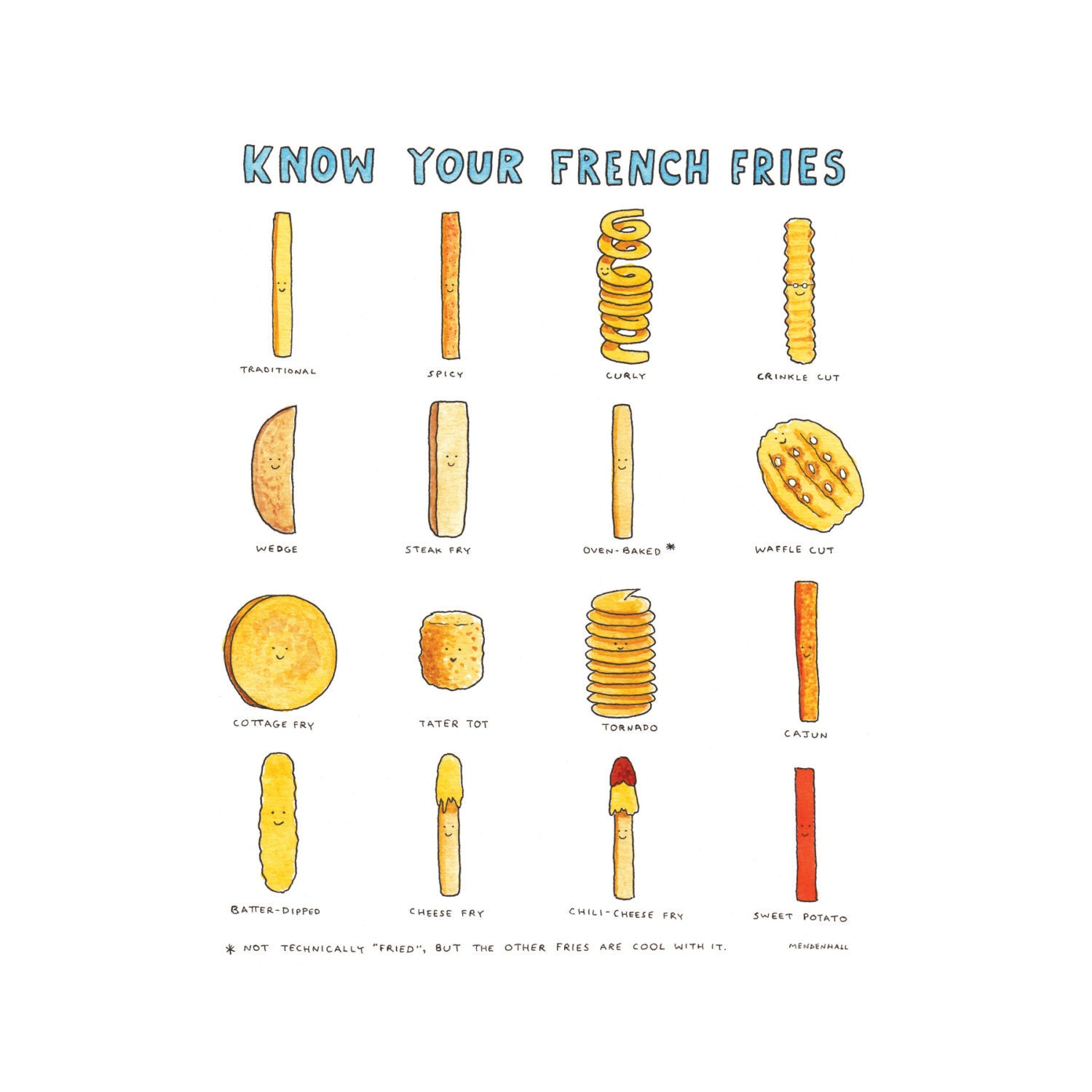 French Fry Humor Happy Food Print Gifts For Foodies Fun