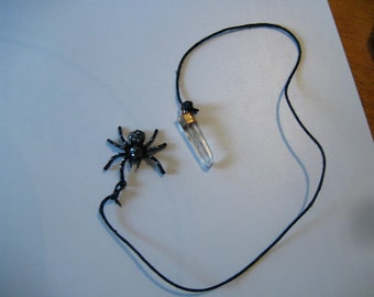 Black Spider Quartz Crystal attached to Black Smooth Hemp chord as a Web - Spirit Quartz Crystal Jewelry Shimmering Spider Double Pendants