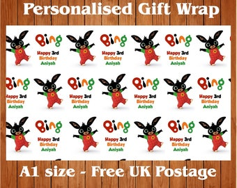 Personalised Birthday Wrapping Paper & 2 tags featuring Bing Bunny.