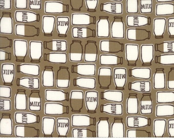 Milk Bottle Fabric, Moda Farm Fun, 20534 18 Chocolate Milk, Stacy Iest Hsu, Chocolate Brown Milk Fabric, Farm & Country Cotton Quilt Fabric