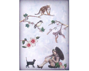 cat art pet collage vintage home decor shabby chic woman bird monkey lion umbrella tagt team