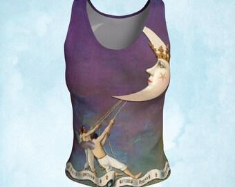Tank top, Tarot clothing, Moon top, angel clothing, art to wear, Celestial top, boho top, gift woman, yoga wear, pagan top, purple top, gift