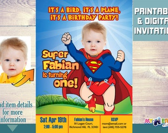 Baby Superman Invitation with your little boy as Baby Superman! Super baby 1st Birthday Invitation. Super baby First Birthday. 121