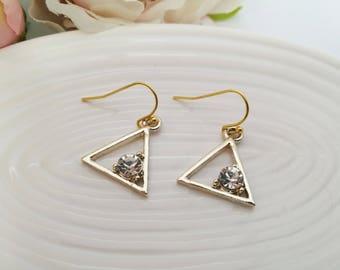 Gold triangle earrings, gold geometric earrings, gold earrings, gift for her, crystal earrings, dangle earrings, rhinestone drop earrings