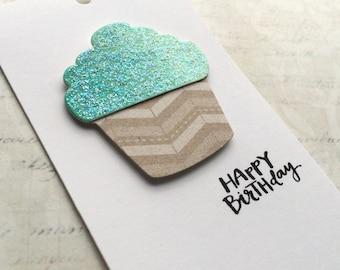 Gift Tag / Happy Birthday / Watercolor / Cupcake