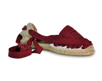 lace up espadrilles  - burgundy red - , lace-up sandals, espadrilles, espadrilles with laces, lace up wedges, wedge sandals, wedges