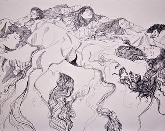 Psychedelic Art Print - Mountains - Women in Nature - Pen Drawing