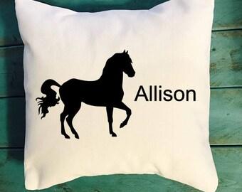 Personalized Horse throw pillow, horse farm pillow, farmhouse decor pillow, southern decor pillow, farm decor pillows