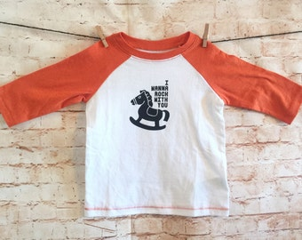 I Wanna Rock With You / Faded Orange and White Baseball Tee / Michael Jackson / Baby Shower Gift / Graphic Tee