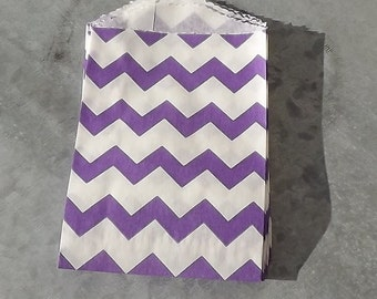 Paper Bags Purple Chevron Little Bitty Bags Set of 10 Party Goody Bags Gift Bags