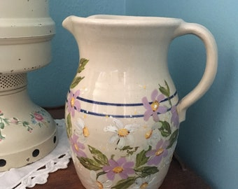 Vintage Marshall Pottery Hand Turned Hand Painted Stoneware Pitcher