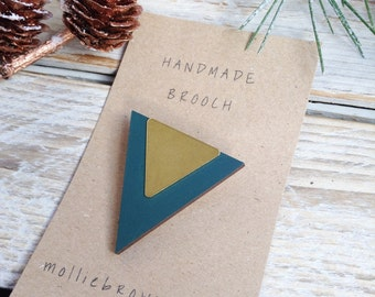 Triangle Brooch Geometric Brooch Wood and Brass Brooch Gift for Her Gift Ideas Stocking filler