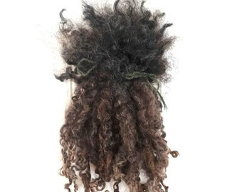 Wool locks - natural brown grey Wensleydale curls for spinning, felt craft and dolls hair - bjd blythe waldorf trolls cloth doll