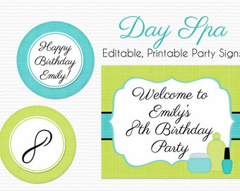 Day Spa Birthday Party Decoration, Bridal Shower Decor, Girl Party Theme, Welcome Sign, Party Signs - Editable, Printable, Instant Download
