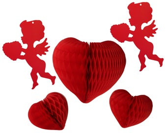 Hanging Honeycomb Red Hearts & Cupid Decorations, Set of 5 (8 inch and 12 inch)