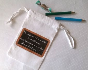 Fabric pouch quotation on Slate, gift for teachers and label