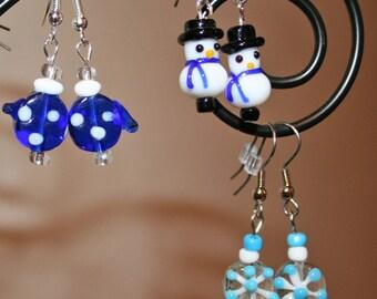 Cute Christmas lampwork earrings