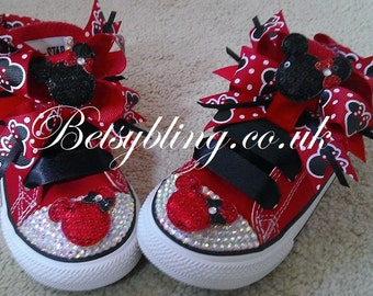 SALE **15% off original price**Minnie Mouse Converse, Minnie mouse crystal converse Free UK Delivery