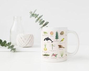 Washington State Symbols Mug / Ceramic Mug / Washington Mug / Seattle Mug / State Symbols Mug / Cascadia Mug / Seattle Gifts / Washington