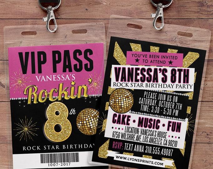 Any age, birthday invitation, rock star, VIP PASS, backstage pass, concert ticket, birthday invitation, wedding, baby shower, party favor