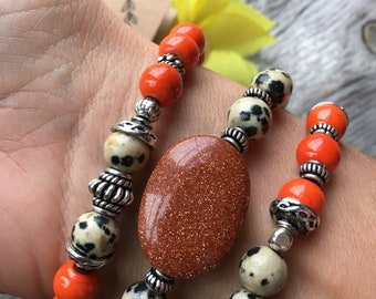Gemstone beaded stack bracelets/ set of 3 gemstone bracelets /Dalmatian jasper,goldstone,abacus turquoise stack bracelets /multi gemstone